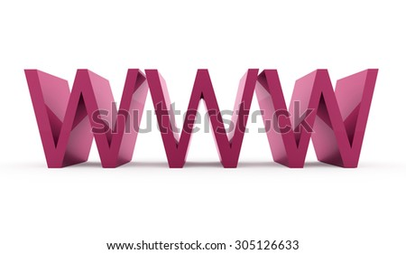 Pink www text rendered isolated on white background - stock photo
