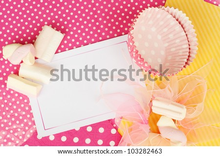 Pink yellow cupcake marshmallow card design wallpaper background - stock photo
