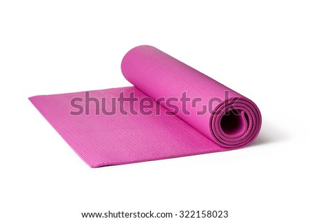 Pink Yoga Mat on a White Background - stock photo