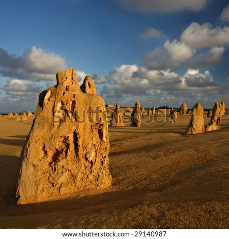 Pinnacles at first light - Numbung National Park, Western Australia - stock photo