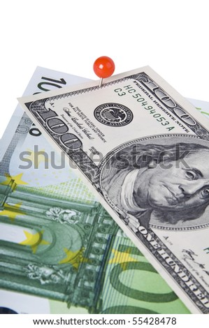 pinned dollar and euro isolated on white background - stock photo