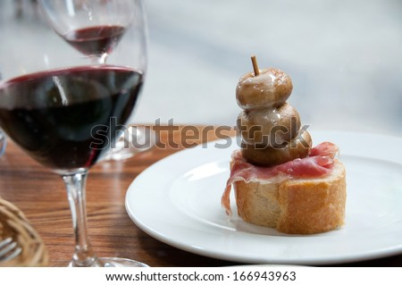 Pintxo and Wine in San Sebastian - stock photo