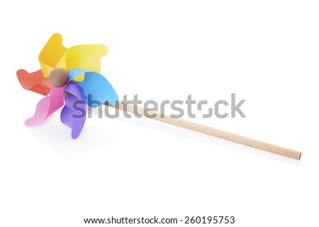 Pinwheel, colorful toy, isolated on white, clipping path - stock photo