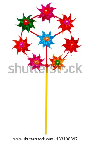 Pinwheel isolated on white. Closeup with clipping path - stock photo