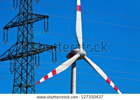 pinwheel of a wind power plant. production of alternative and sustainable energy for power generation - stock photo