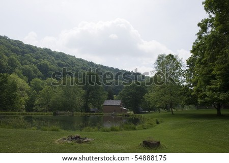 pioneer cabin in west virginia - stock photo