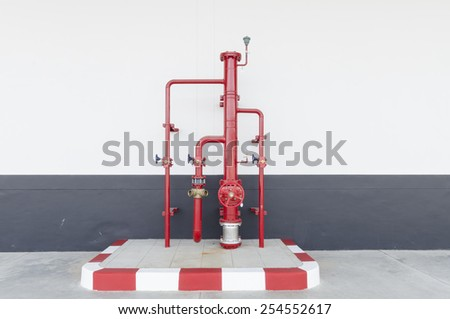 Pipe and valve , Control knobs for water pipes - stock photo