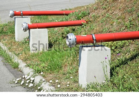 Pipe connectors of the fire hydrants - stock photo