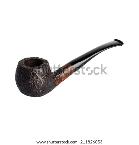 pipe for smoking tobacco isolated on white background - stock photo