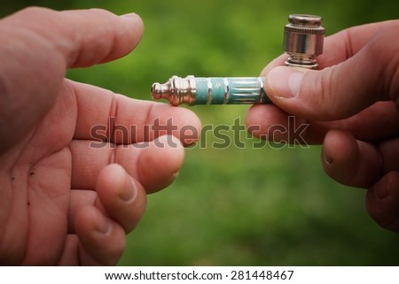 Pipe for tobacco smoking marijuana - stock photo