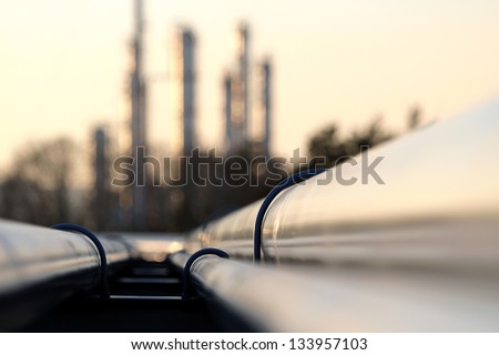 pipe line connection in oil refinery - stock photo