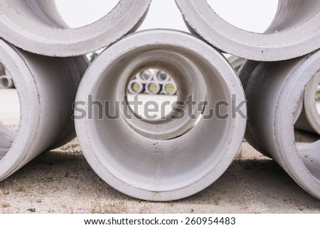 Pipe of cement for the building trade - stock photo