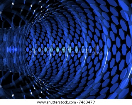 Pipe of polygons in black space. Blue abstract background. - stock photo