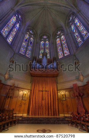 Pipe Organ Stained Glass Altar at Grace Catheral in San Francisco - stock photo