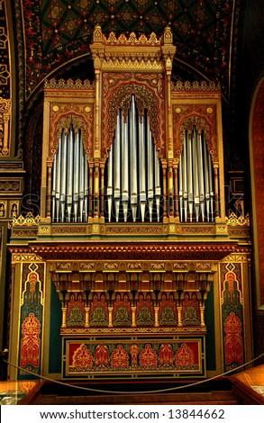 Pipe Organs of Spanish Synagogue in Jewish Quarter  Prague - stock photo
