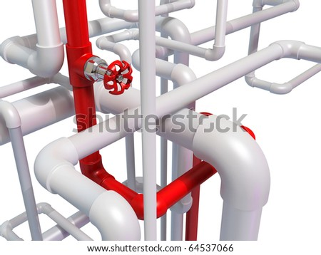 Pipe pipe with hot water - stock photo