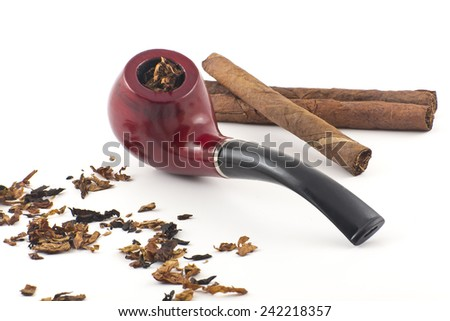 Pipe, tobacco, cigarettes, cigars, smoking, etc. on red leather background  - stock photo