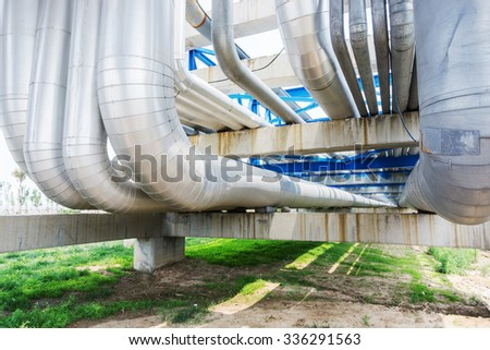 pipeline of oil depot - stock photo
