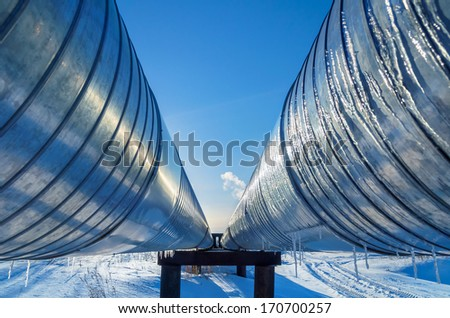 Pipeline on a background of blue sky - stock photo