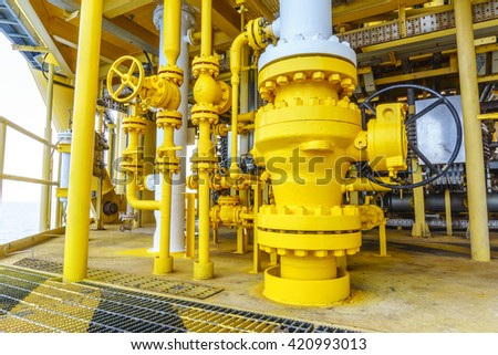 Pipeline production and valve control for oil and gas process, Pipeline construction on offshore wellhead remote platform, Energy and petroleum industry. - stock photo