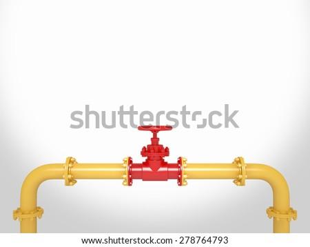 Pipeline Valve on white Background - stock photo