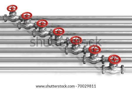 Pipeline with valves - stock photo