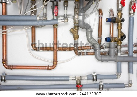 pipes and heating system - stock photo
