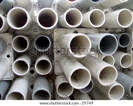 Pipes at a construction site in Tribeca, NYC - stock photo