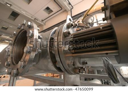 pipes inside eneergy plant - stock photo