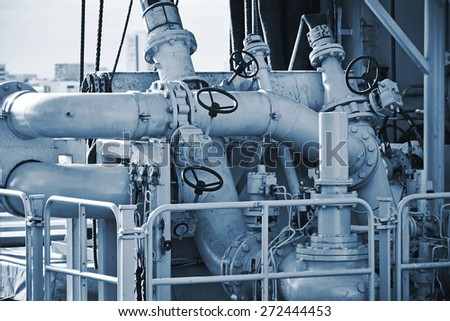 Pipes on the deck of naval ship. - stock photo