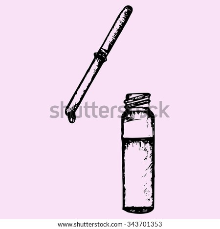 pipette with drop, bottle, doodle style, sketch illustration, hand drawn, raster - stock photo