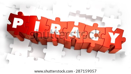 Piracy - White Word on Red Puzzles on White Background. 3D Render.  - stock photo