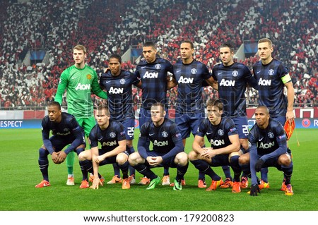 PIRAEUS, GREECE -FEB. 25. Manchester United's team  at the round of 16 Champions League football match Olympiakos vs Manchester United at Karaiskaki Stadium in Piraeus near Athens on February 25, 2014 - stock photo
