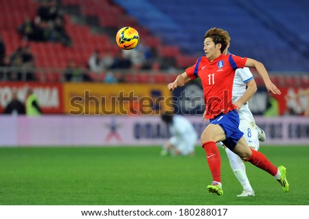 PIRAEUS GREECE MAR 05 South Korea's Heeungmin Son in action during a friendly match against Greece (0-2) at Georgios Karaiskakis stadium in Piraeus port, near Athens, March 5, 2014 - stock photo