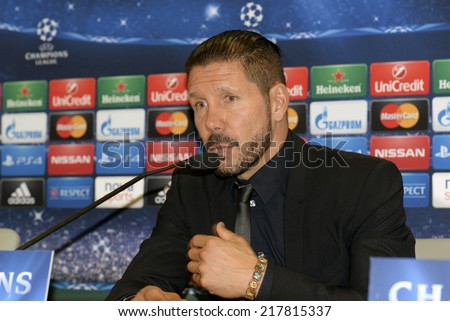 Piraeus,Greece Sept 16, 2014. Atletico Madrid's coach Diego Simeone attends a press conference at the Georgios Karaiskakis stadium in the Piraeus port, near Athens - stock photo