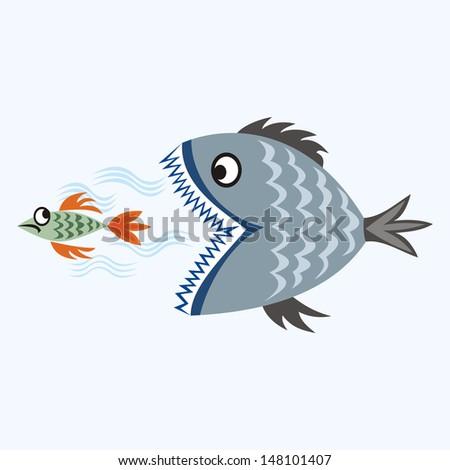 Piranha cartoon illustration - stock photo