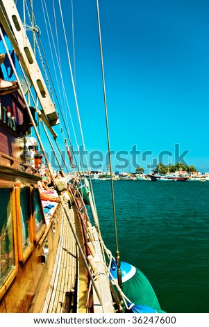 Pirate boat trip, view from boat - stock photo