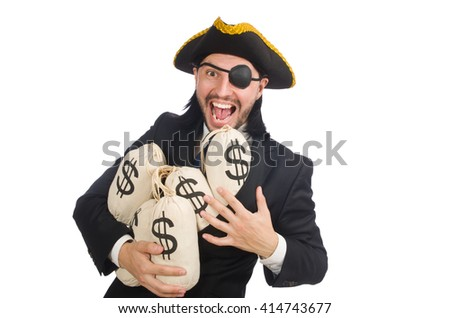 Pirate businessman holding money bags isolated on white - stock photo