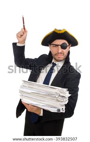 Pirate businessman holding papers isolated on white - stock photo