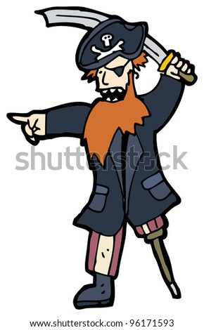 pirate cartoon - stock photo