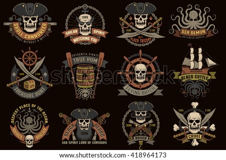 Pirate color logos with skulls on a black background. - stock photo