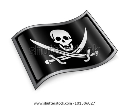 pirate flag icon, isolated on white background - stock photo