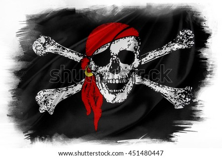 Pirate flag on plain background - stock photo