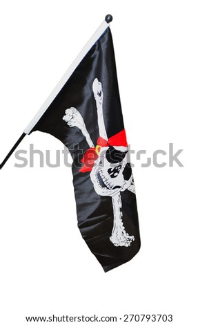 Pirate Flag on white background  - stock photo