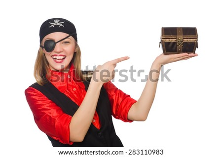 Pirate girl holding chest box isolated on white - stock photo