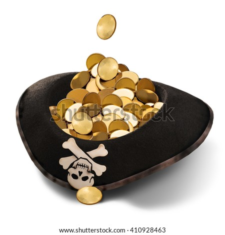 Pirate hat on a white background with gold money.Dirty money.International terrorism. - stock photo