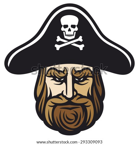 pirate head with pirate hat - stock photo