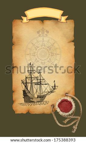 Pirate map - stock photo