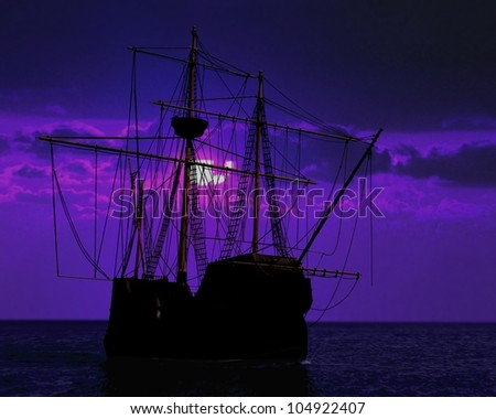 pirate ship docking under moon light - stock photo