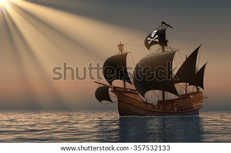 Pirate Ship In Rays Of the Sun. 3D Scene. - stock photo